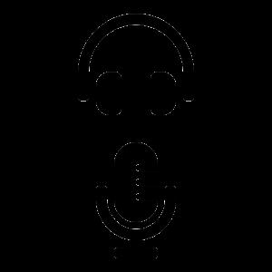 Unos auriculares y un micrófono en forma de iconos, representando los elementos de un podcast